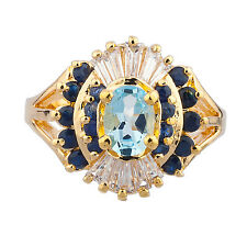 Sterling Silver 925 14K Yellow Gold Plated Blue Topaz Sapphire Ring  Size 8