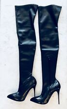 NEW $2495 ALEXANDER MCQUEEN Black Leather  Over The Knee Thigh High Boot Shoe 40