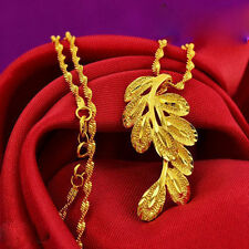 Peacock feather Pendant Necklace Chain Women's Solid 24K Yellow Gold Filled Gift