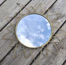Joli miroir forme soleil métal doré  Diam 35 cm  design vintage Scandinave