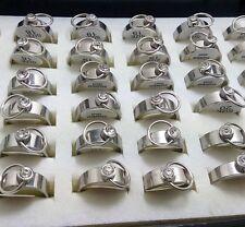36pcs O desgin  Stainless Steel Rings CZ Wholesale Men Women Fashion Jewelry Lot