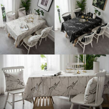 White Black Marble Pattern Cotton Linen Rectangle Cushion Cover Table Cloth