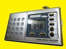 Weltempfänger/MW/Ukw Radio/Wecker/Uhr/Reisewecker/8 Band Word Receiver/mit Kopfh