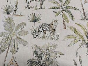 Safari Linen Cotton Upholstery Curtain Blind Fabric Giraffe Zebra Tiger