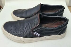 VANS Classic Slip-ON Perforated LEATHER BLACK US Mens 8 / women's 9.5