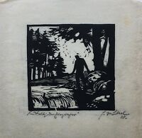 Woodcut 1928 from for Nückel - Person in the Forest - Expressive