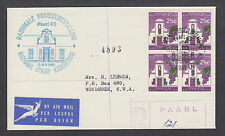 South Africa Sc 292 block on Registered PAARL 65 NATIONAL STAMP EXPOSITION cover