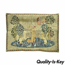 """40"""" x 29""""  French Wall Hanging Tapestry Jacquard Medieval Lady and the Unicorn"""