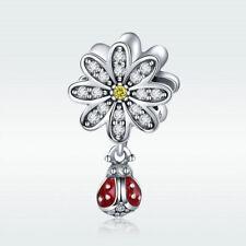 S925 Sterling Silver Daisy Charm Ladybug Dangle Pendant For Bracelet CZ Jewelry