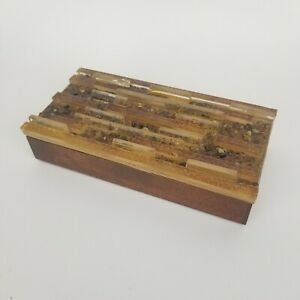 Mid Century Wood Box Glass Mosaic Stone Cover Lid Brown Tan Vintage