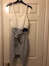 Parallel lines White Cami And Grey Asymetric Skirt Paperbag Tie Up Size Xs