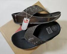 NIB Fitflop Crystall Flip Flop Sandal Metallic Pewter Size 5, 8, 9 $120