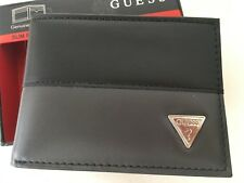 GUESS Slim Passcase Wallet Genuine Leather Black/Gray New with Tag