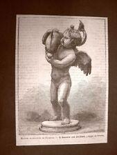Scavi di Pompei nel 1881 Ritrovamento Statua Amore con delfino Gruppo in bronzo