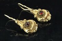 Antique Garnet Earrings 9CT Gold Old Rose Cut Stones Victorian Dainty Small 1890