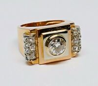 "BAGUE ""TANK"" OR  18K EPOQUE 40/50 DIAMANTS TAILLE  ROSE ET DIAMANT 0,95 CARAT"
