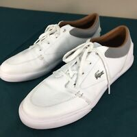 Used Lacoste White Leather Bayliss Lace Up Mens Fashion Sneakers sz 10.5 Gator