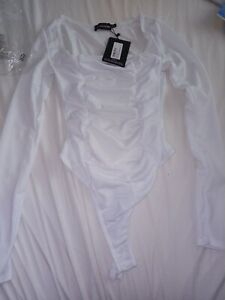 Pretty Little Thing White Rutched Bodysuit UK8