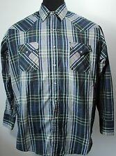Plains Western Blue Plaid Shirt Pearl Snap Rockabilly Size XL