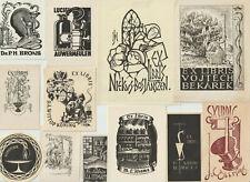 "12 Ex libris Art Deco ""Medic and pharmaceuticals"" Exlibris by V. artist / Europe"