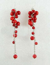 Fashion Red Coral Beads Custer Grape WGP Hook Long Earrings