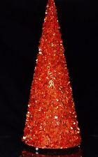 Antique Sequin Christmas Tree Orange illuminated Celluloid Plastic Designer