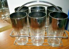 Vtg 6 Silver Fade Highball Drink Glasses & Chrome Caddy Rack Bar Set Barware Euc