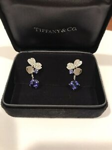 Tiffany & co Platinum Tanzanite Diamond Paper flower Earrings