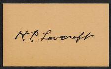 H.P. Lovecraft  Autograph Reprint On Genuine Original Period 1930s 3X5 Card