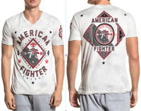 American Fighter Mens Short Sleeve T-Shirt GARDNER Grey Wht Crystal Wash $40 NWT