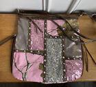 Realtree Pink Camo Purse Tote Handbag With Rhinestone Sequin Studs