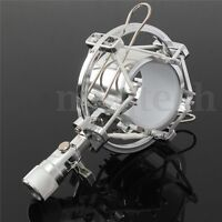 Silver Microphone Shock Mount Cradle Holder Clip Stand for Recording Stud