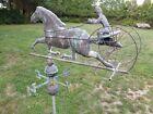 Antique+Copper+Verdigris+32%22w+x+50%22h+Horse+Sulky+Buggy+Carriage+Weathervane