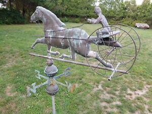 "Antique Copper Verdigris 32""w x 50""h Horse Sulky Buggy Carriage Weathervane"