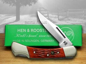 Hen & Rooster Medium Lockback Knife Red Pick Bone Pocket 351-RPB