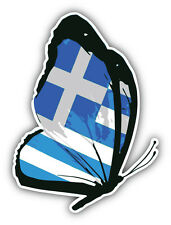 Greece Flag Butterfly Car Bumper Sticker Decal 4'' x 5''