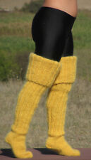 Hand knitted Long Mohair socks stockings MUSTARD leg warmers unisex soft 22
