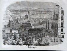 Stampa antica FREIBURG FRIBURGO panorama Germania 1845 Alte Stich Antique Print
