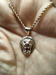 Lion Head Ruby Eyes Pendant  10K Yellow Gold with 20' Chain 2mm Set