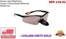RayZor UV400 Sports Wrap Sunglasses GunMetal Grey Smoked Mirror Lens RRP£49 (612