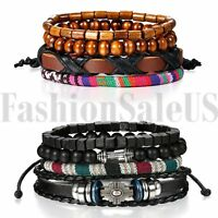 2 Sets(8pcs) Leather Tribal Beaded Cuff Wristband Bangle Bracelet for Men Women