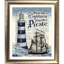 DICTIONARART PRINT ON ORIGINAL ANTIQUE BOOK PAGE PIRATE Ship Nautical Pirate Sea