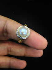 4.27 Cts Round Brilliant Cut Natural Diamonds Pearl Cocktail Ring In 18K Gold