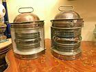 2 Antique Spanish Barcelona Ciervo Glass Lanterns Lamps Candle Holders