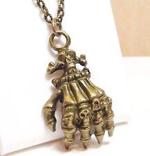 "3D SKELETON HAND_Bronze Pendant on 20"" Chain Necklace_Skull Goth Fingers_234N"