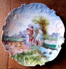 Superbe assiette - plat ancien , signé G.Thamin en porcelaine. Limoges ?