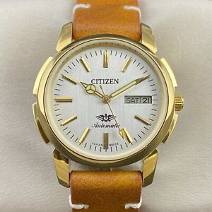 Vintage Citizen Automatic Gold Plated Day-Date 21 Jewels Men's Wrist Watch