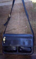 Fossil Black Pebbled Leather Shoulder Bag w/Full Flap Closure - VGUC
