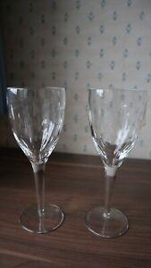 2 Waterford Crystal John Rocha Imprint Tall Wine Glasses + Box +Tissue 25cm tall