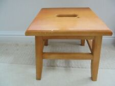 Vintage retro square beech stool with grab hole, 1970s 80s, kitchen step stool
